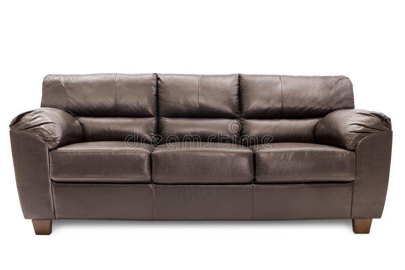 Cuir brun confortable de trois sièges images libres de droits