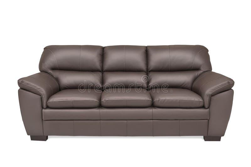 Cuir brun confortable de trois sièges images stock