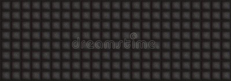 Cuir carré de texture avec la couleur noire de DOF image stock
