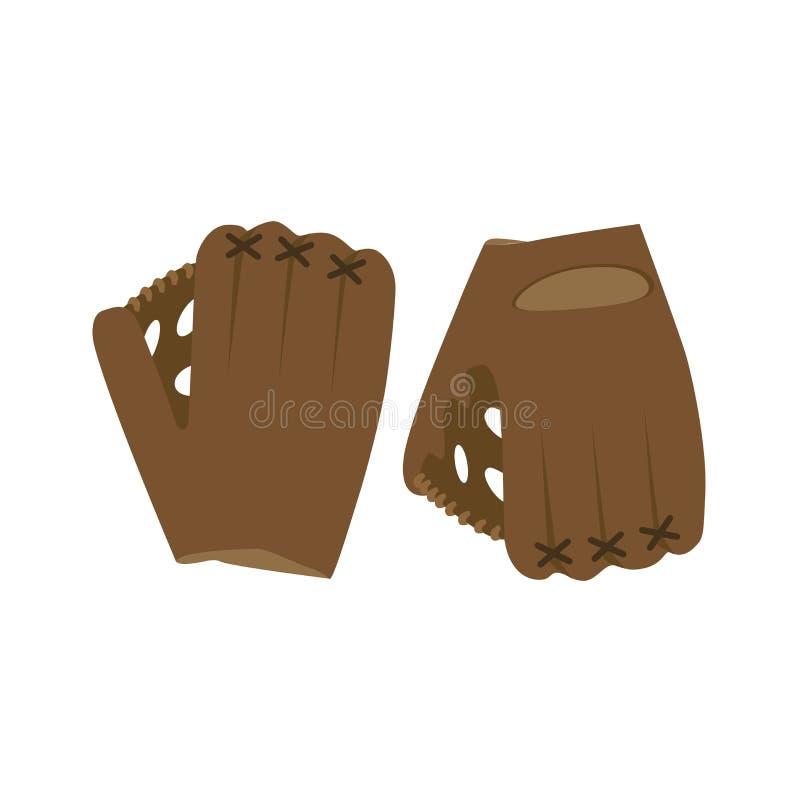 Cuir de jeu de ligue d'isolement par boule de jeu de sport d'équipement d'illustration de vecteur de gant de base-ball illustration libre de droits