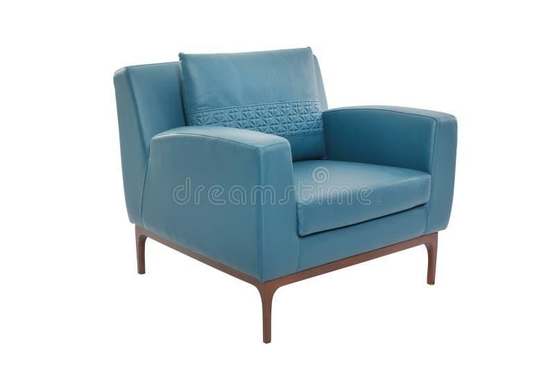 Cuir de tache floue et concepteur moderne de fauteuil en bois photo libre de droits