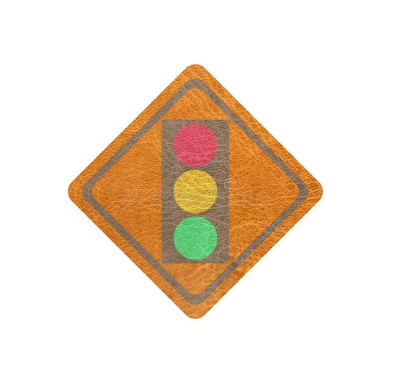 Cuir, drapeau de lampe de circulation photographie stock libre de droits