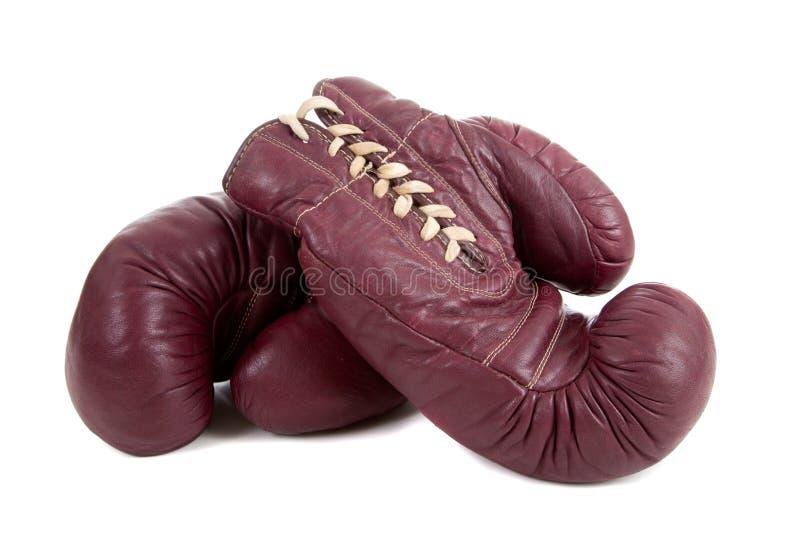 Cuir, gants de boxe antiques photo stock