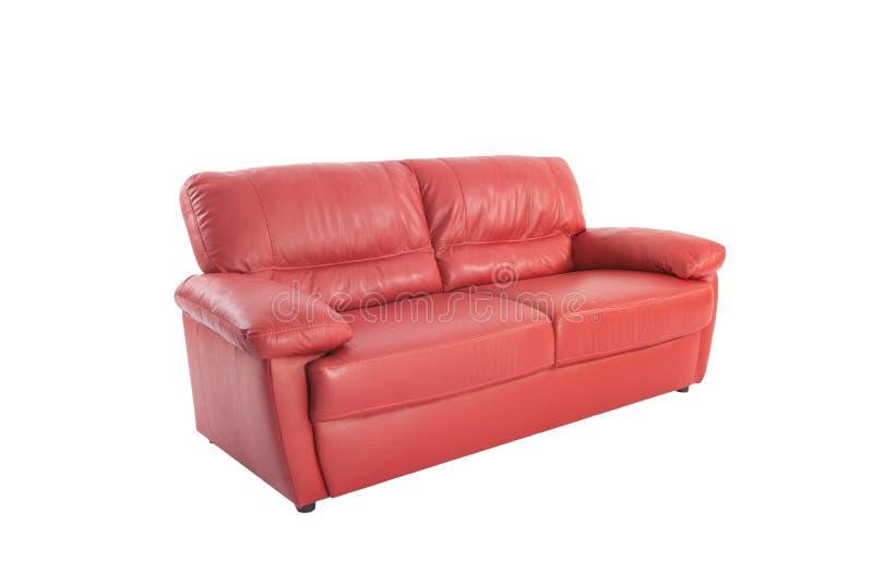 Cuir rouge confortable de trois sièges images stock