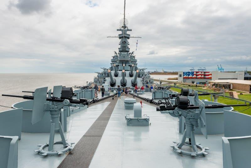 Cuirassé d'USS Alabama chez Memorial Park en Alabama mobile Etats-Unis images stock