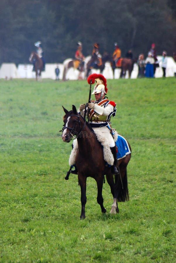 Cuirassier à la reconstitution historique de bataille de Borodino en Russie photos stock