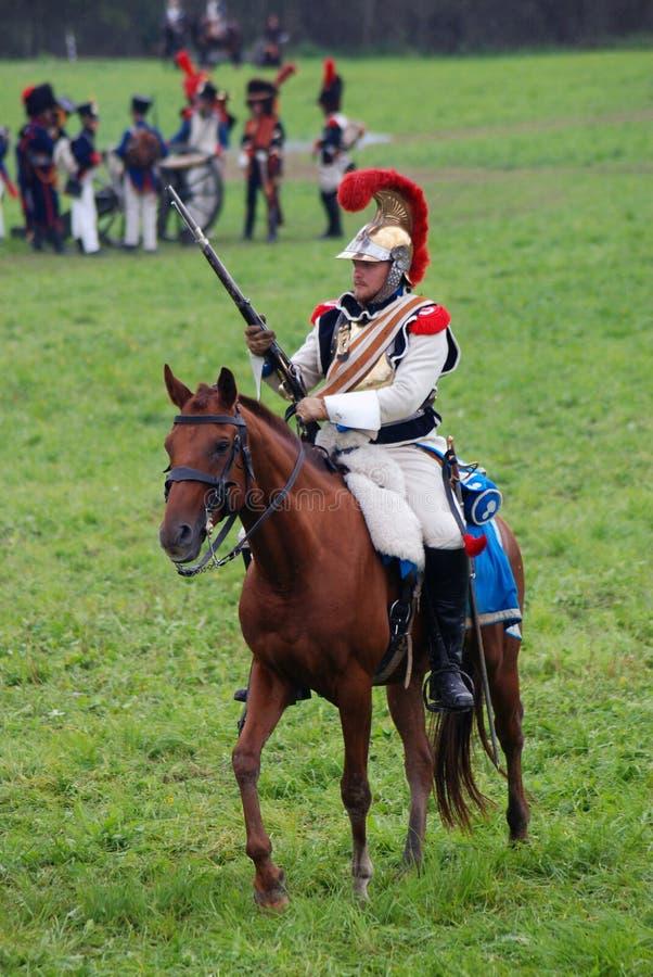 Cuirassier à la reconstitution historique de bataille de Borodino en Russie images libres de droits
