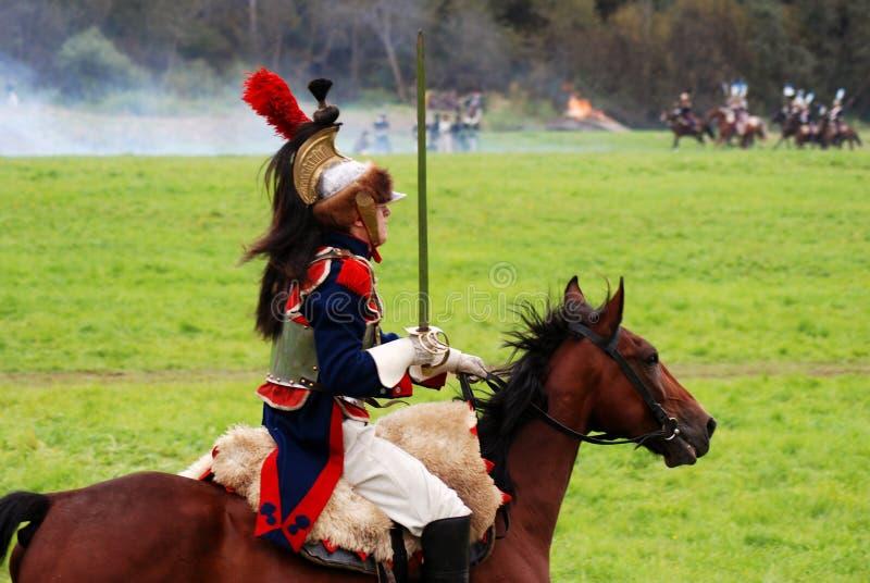 Cuirassier à la reconstitution historique de bataille de Borodino en Russie photo libre de droits
