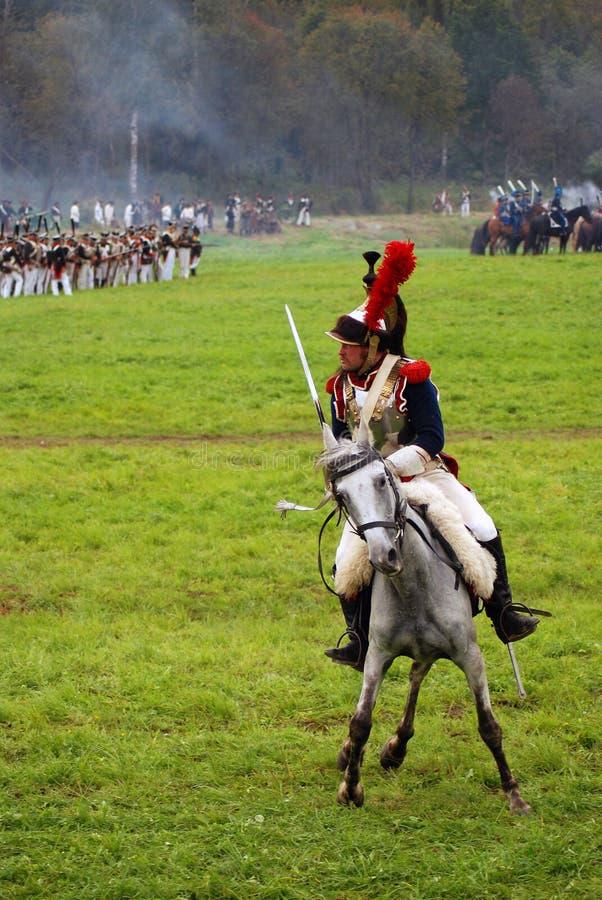 Cuirassier à la reconstitution historique de bataille de Borodino en Russie image stock