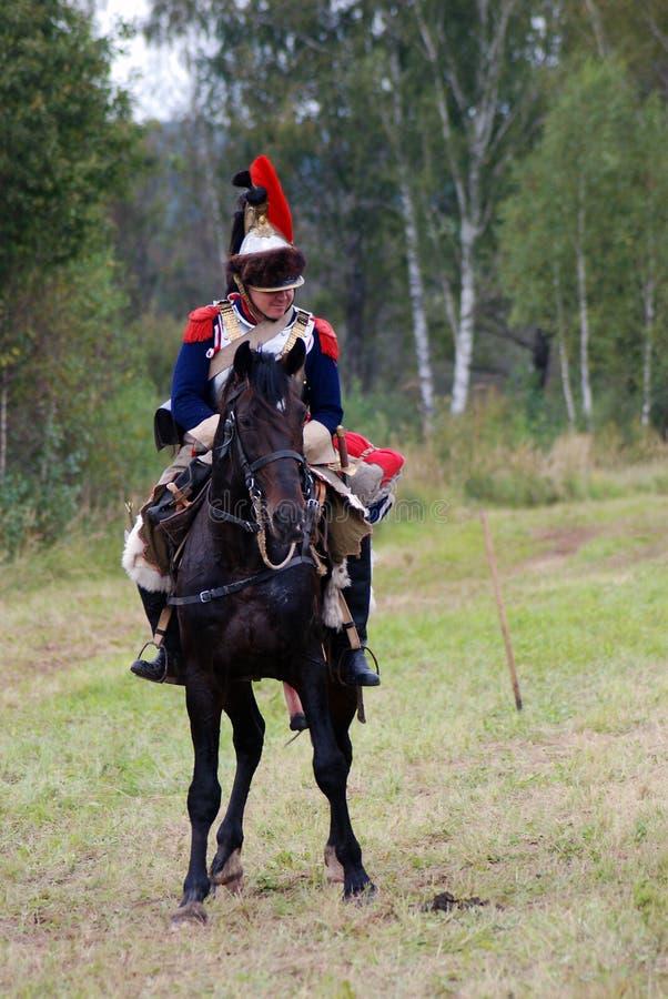 Cuirassier à la reconstitution historique de bataille de Borodino en Russie photo stock