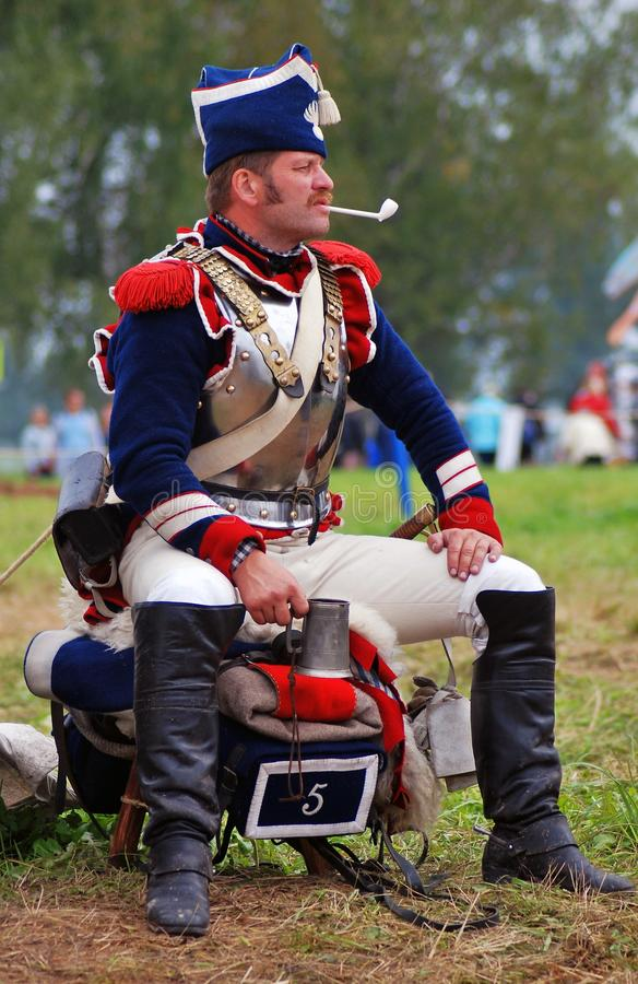 Cuirassier portrait at Borodino battle historical reenactment in Russia. BORODINO, MOSCOW REGION - SEPTEMBER 04, 2016: Reenactor dressed as Napoleonic war stock images