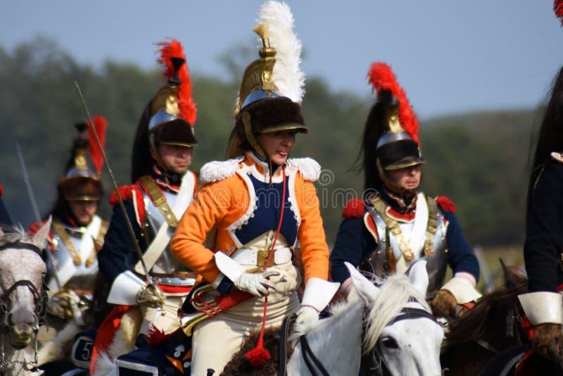 Cuirassiers de Reenactors à la reconstitution historique de bataille de Borodino en Russie photos libres de droits