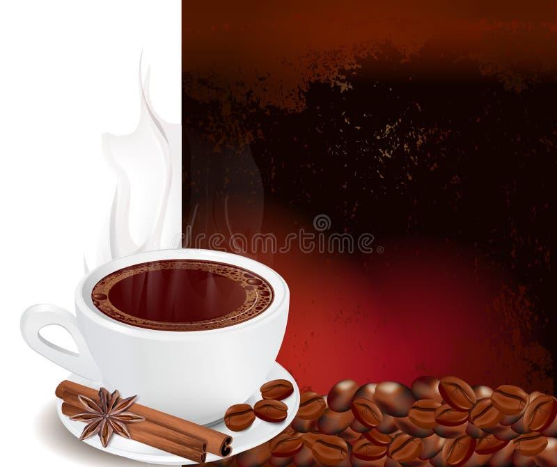 Cuire la cuvette à la vapeur de café avec de la cannelle illustration libre de droits