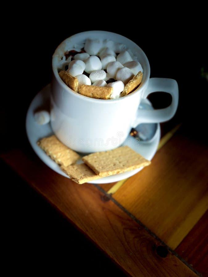 Cuire le chocolat à la vapeur chaud pendant un jour frais photographie stock libre de droits