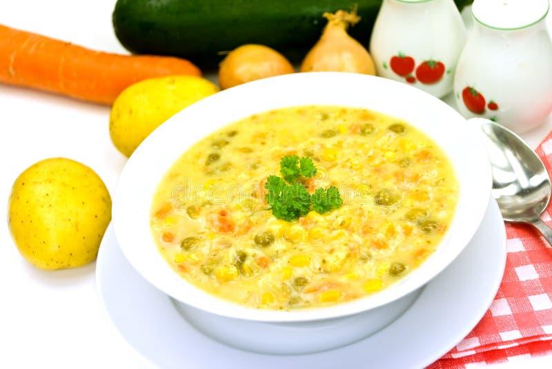 Cuire-potage avec le paprika rouge, pois, veg mélangé photo libre de droits