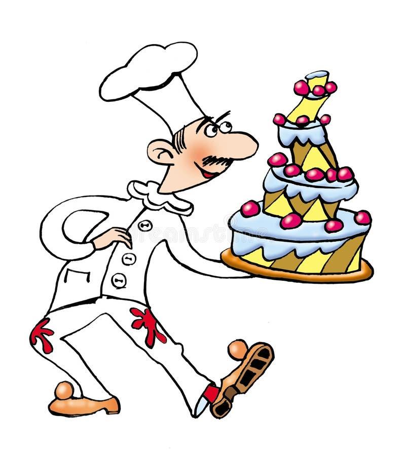 Cuiseur avec le gâteau illustration stock