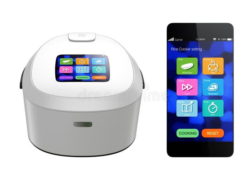 Cuiseur de riz et téléphone intelligent sur le fond blanc illustration libre de droits
