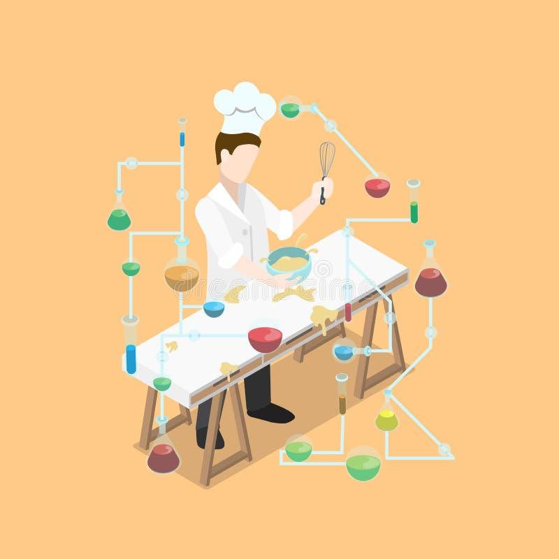 Cuiseur en chef isométrique plat faisant cuire le laboratoire de science ch illustration libre de droits