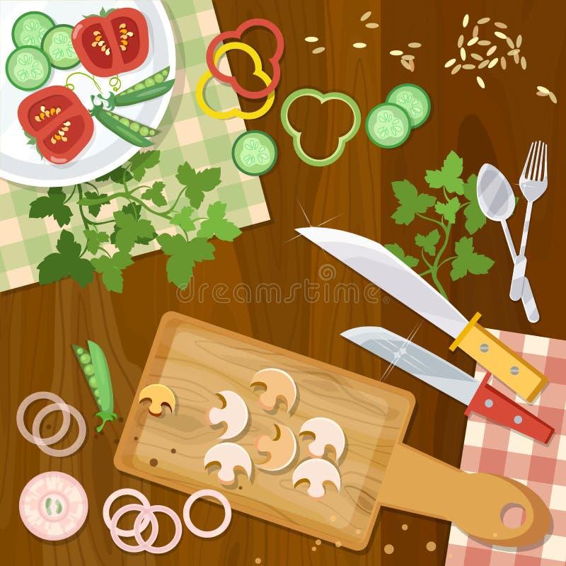 Cuisine à la maison de cuisine faisant cuire la vue supérieure de nourriture illustration stock