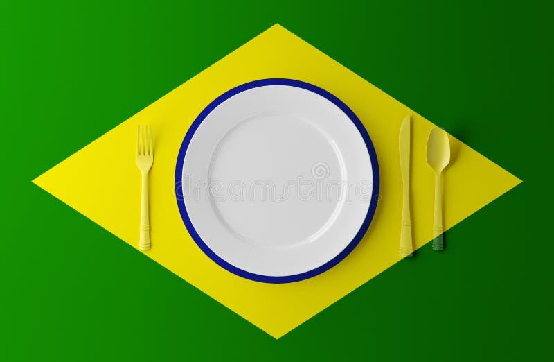 Cuisine authentique du Brésil Plat avec le drapeau et les couverts brésiliens illustration 3D illustration stock