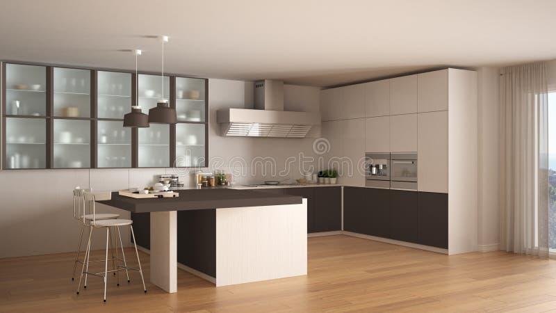 Cuisine blanche et brune minimale classique avec le plancher de parquet mode illustration stock for Cuisine blanche classique