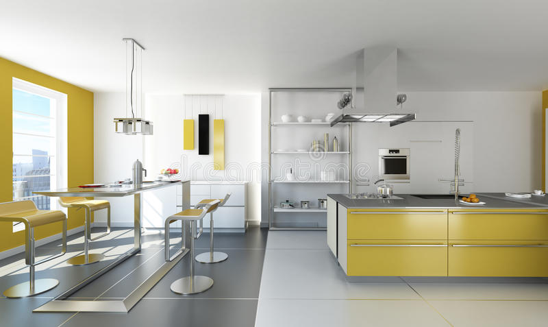 Cuisine Blanche Et Jaune Moderne. Illustration Stock - Illustration ...
