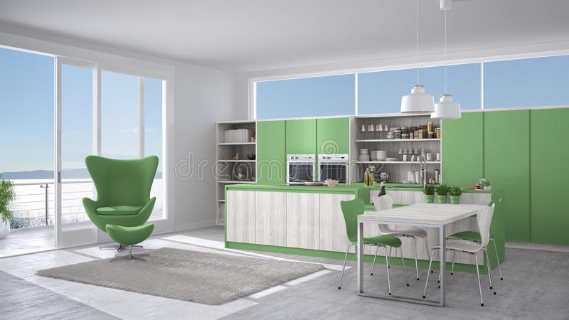 download cuisine blanche et verte moderne avec les dtails en bois grande fentre w illustration