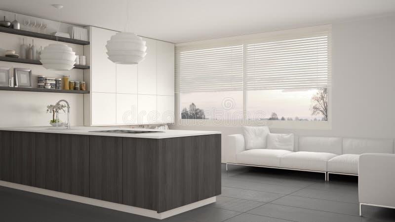 Cuisine blanche, grise et en bois moderne avec des étagères et des armoires, sofa et fenêtre panoramique Salon contemporain, mini illustration libre de droits