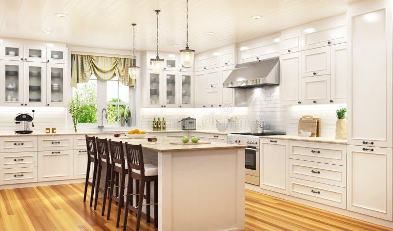 Cuisine blanche luxueuse dans une grande belle maison photos stock