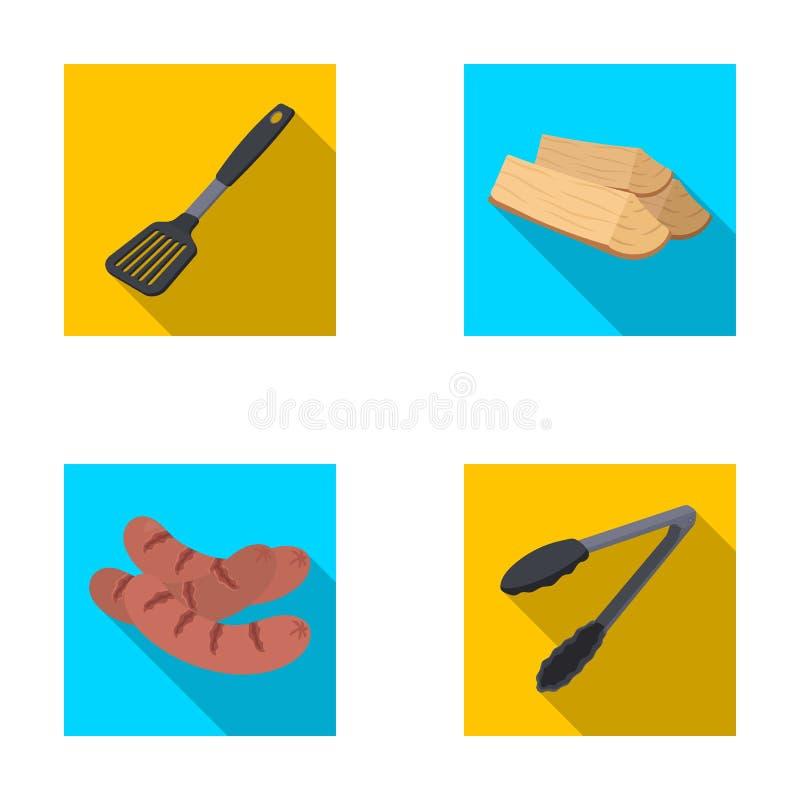 Cuisine, bois de chauffage, saucisses et autre de lame pour le barbecue Les icônes réglées de collection de BBQ dans le style pla illustration libre de droits