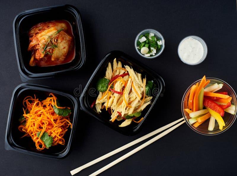 Cuisine coréenne Ensemble de salades image libre de droits