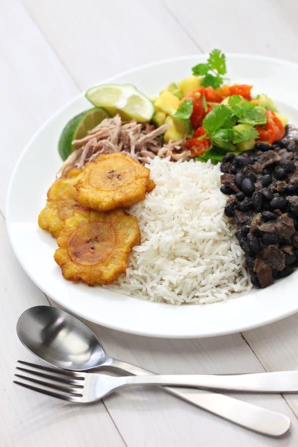 Cuisine cubaine, negros de frijoles d'escroquerie d'arroz images libres de droits