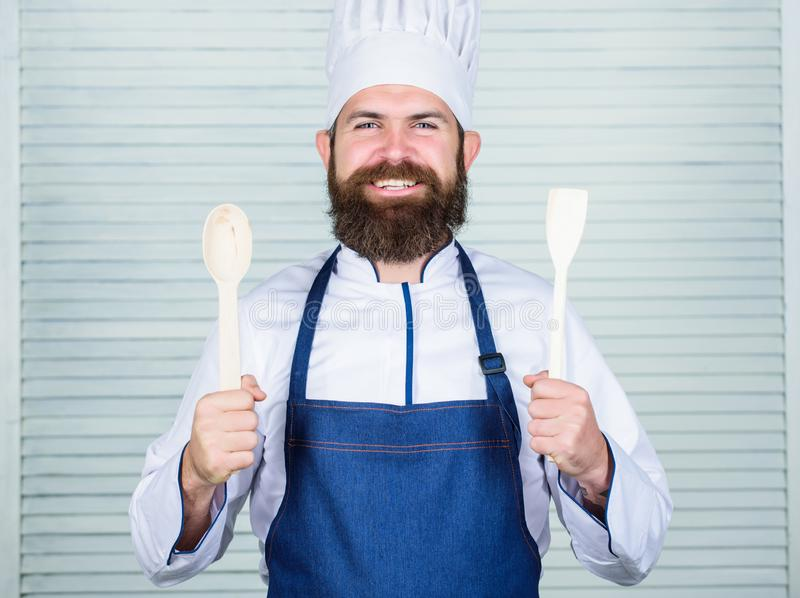 Cuisine culinary. Vitamin. man holds kitchen utensils. Healthy food cooking. Mature hipster with beard. Dieting organic royalty free stock images