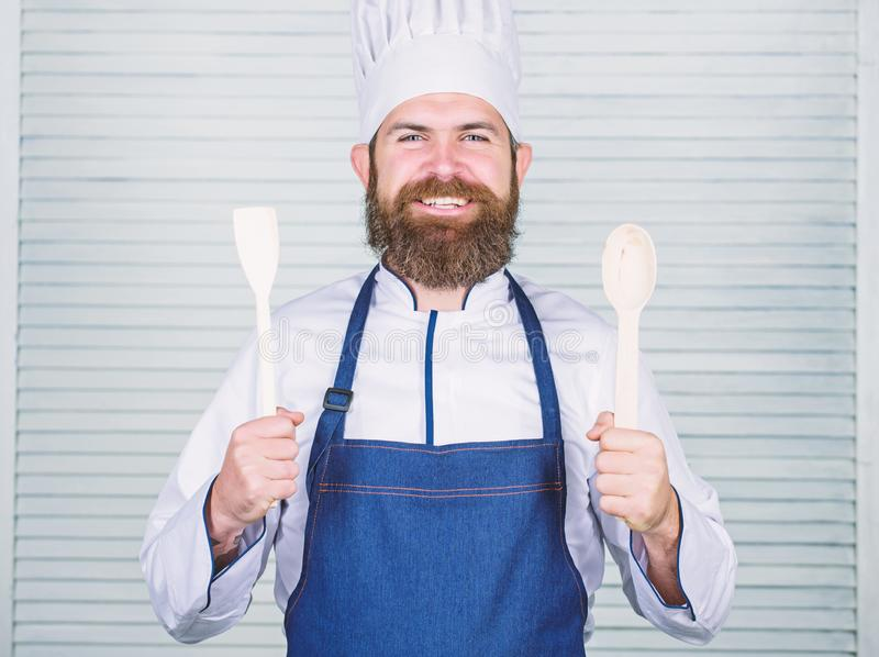 Cuisine culinary. Vitamin. man holds kitchen utensils. Healthy food cooking. Mature hipster with beard. Dieting organic stock images