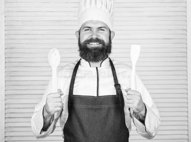 Cuisine culinary. Vitamin. man holds kitchen utensils. Healthy food cooking. Mature hipster with beard. Dieting organic royalty free stock photos