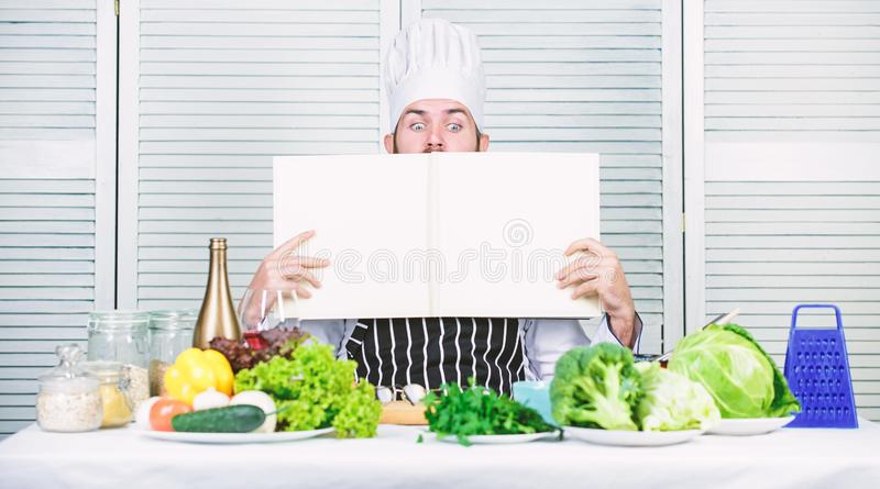 Cuisine culinary. Vitamin. Vegetarian salad with fresh vegetables. Dieting organic food. Happy bearded man. chef recipe. Healthy food cooking. Mature hipster royalty free stock images