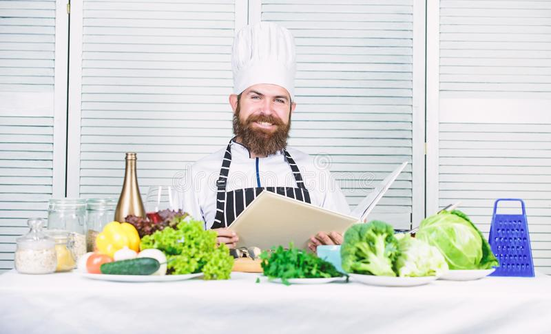 Cuisine culinary. Vitamin. Vegetarian salad with fresh vegetables. Dieting organic food. Happy bearded man. chef recipe. Healthy food cooking. Mature hipster stock images