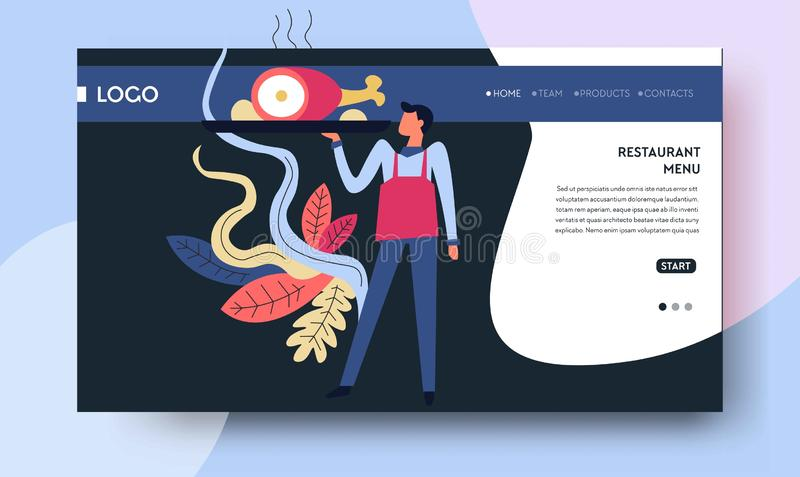 Cuisine and culinary web page template restaurant menu. Restaurant menu cuisine and culinary web page template vector man in apron with pig leg on tray recipes stock illustration