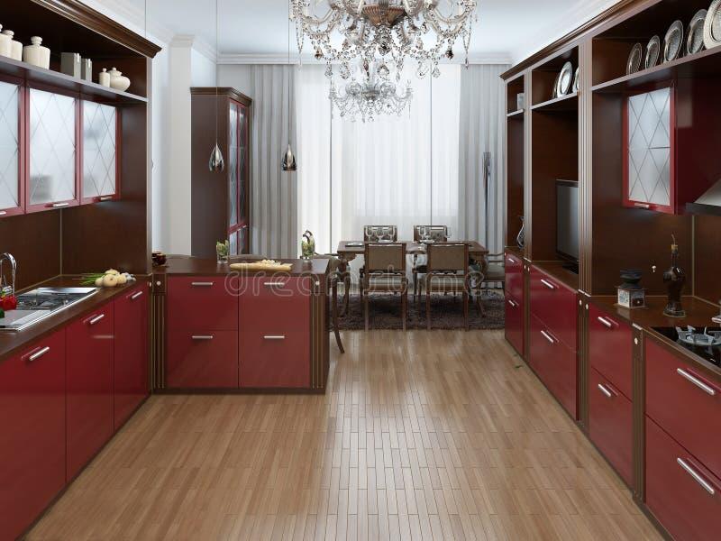 cuisine dans le style d 39 art deco illustration stock illustration du confortable chrome 42211128. Black Bedroom Furniture Sets. Home Design Ideas