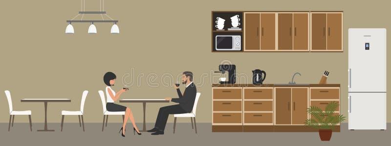 Cuisine de bureau Salle à manger dans le bureau Café de boissons des employés à la table illustration de vecteur