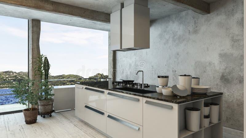 Cuisine de luxe et moderne d'appartement terrasse avec la vue de piscine illustration stock