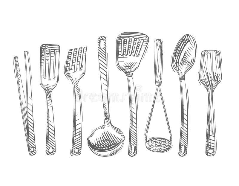 cuisine Ensemble tiré par la main d'outils de cuisine illustration libre de droits