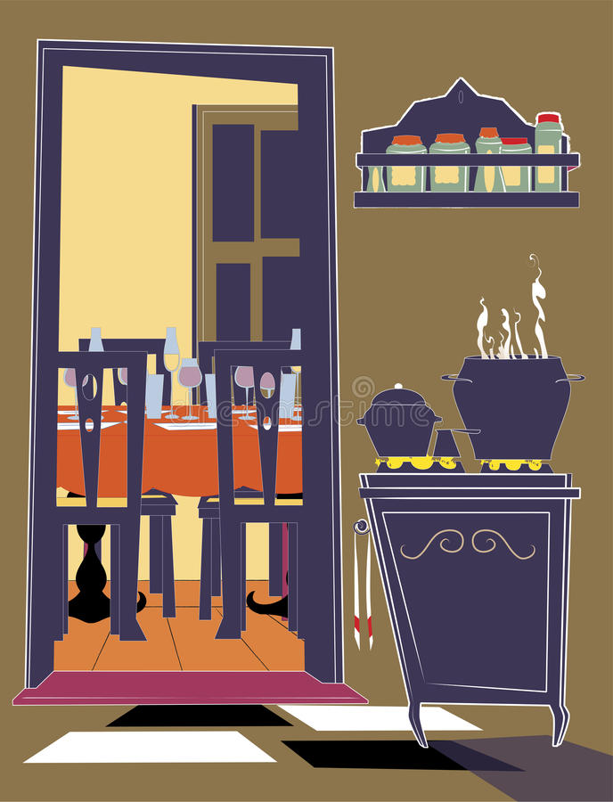 Cuisine et maison de réception illustration de vecteur