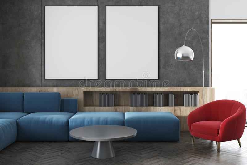 Cuisine et salon, sofa rouge modifié la tonalité illustration de vecteur