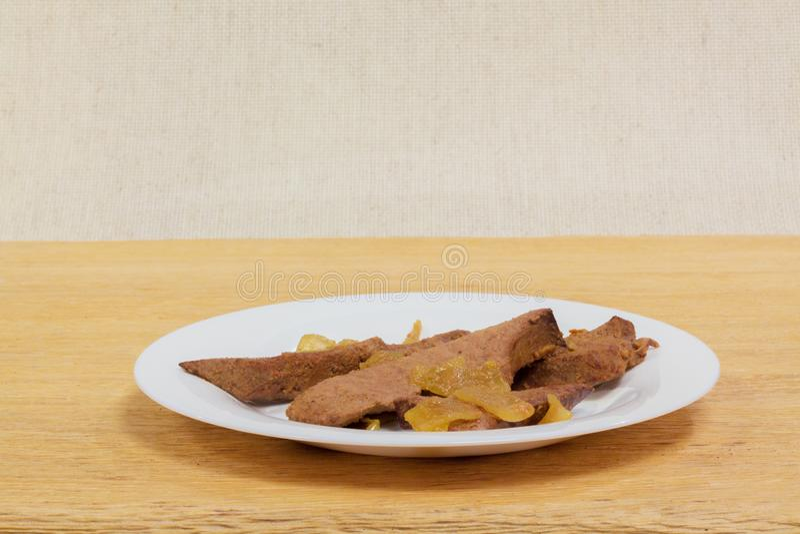 Cuisine familiale de foie de porc image libre de droits
