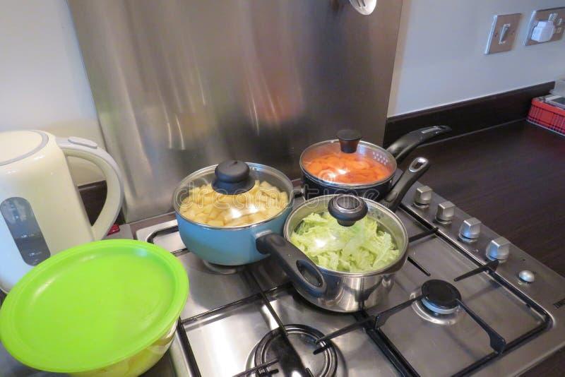 Cuisine familiale sur un aliment d'?bullition de fraise-m?re de gaz dans la grande casserole photographie stock