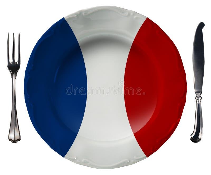 Cuisine française - plat et couverts illustration libre de droits