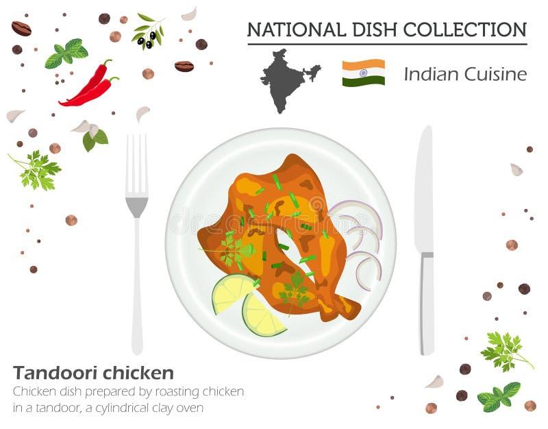 Cuisine indienne Collection nationale asiatique de plat Poulet de Tandoori illustration stock