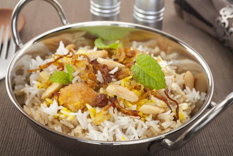 Cuisine indienne de nourriture de cari de Biryani de poulet images libres de droits