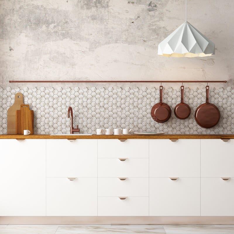 Cuisine intérieure de maquette dans le style de grenier rendu 3d illustration 3D illustration de vecteur